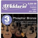 D'addario EJ26-3D 磷青銅 一組3套 民謠吉他弦 (11-52)【DAddario/進口弦/EJ-26】