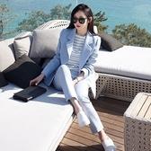 西裝套裝含外套+九分褲(兩件套)-藍色休閒中長款修身女西服73xs22【巴黎精品】