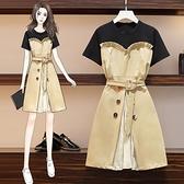 洋裝連身裙中大尺碼L-4XL大碼減齡遮肚收腰顯瘦假兩件拼接短袖連身裙4F109-2209.胖妹大碼