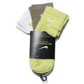 NIKE 運動襪 短襪 EVERYDAY PLUS 白綠黃 襪子 三色 三雙一組 (布魯克林) SX6893-906