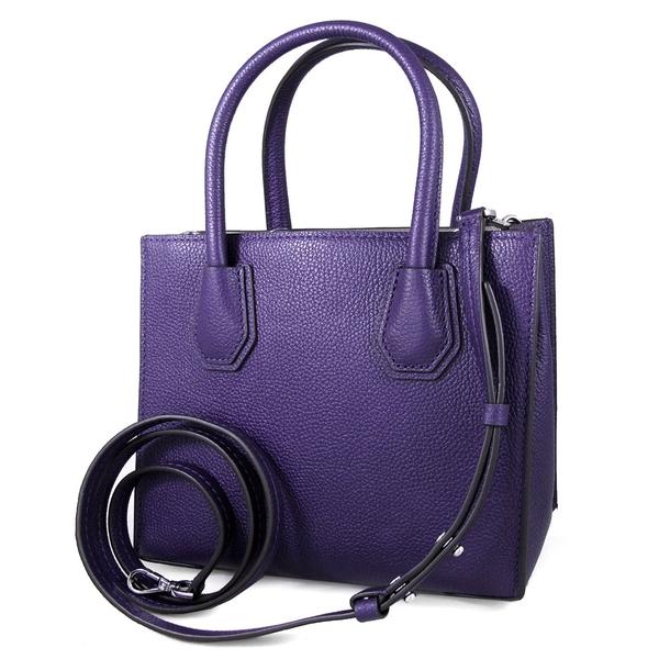 MICHAEL KORS MERCER 銀字荔枝紋皮革三層手提/斜背 兩用包(紫色)-30F6SM9M2L