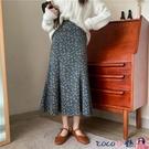 熱賣半身魚尾裙 春季2021新款韓版高腰顯瘦燈芯絨魚尾裙子中長款碎花A字半身裙女 coco