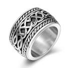 《 QBOX 》FASHION 飾品【RSA154】精緻個性歐美寬版編織結緣繩鑄造鈦鋼戒指/戒環