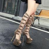夜店女王調教情趣鞋豹紋前系帶高筒涼靴16cm