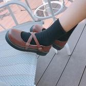 娃娃鞋女森女娃娃鞋單鞋女日繫淺口圓頭交叉帶碎花平底鞋舒適學生鞋女單鞋 俏女孩