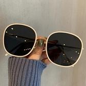 新款韓版白色墨鏡女街拍時尚圓框眼鏡大臉防紫外線素顏太陽鏡 【新年快樂】