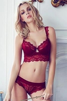 微聚攏歐美性感蕾絲少女內衣本命年紅薄杯透明女士文胸套裝超薄款-0713009