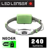 【速捷戶外】德國 LED LENSER NEO6R 戶外運動充電式頭燈 綠 240流明~適合 登山/工作燈/露營燈/野營