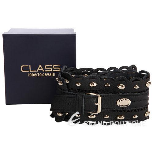CLASS roberto cavalli  鏤空花邊鉚釘飾寬版腰帶(黑色) 1310600-01