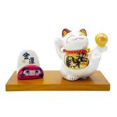 【金石工坊】金運招財名片座(高7.5CM)陶瓷招財貓+達摩造型 桌上開運擺飾 財運滾滾來