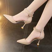 高跟鞋 - 貓跟鞋女單鞋尖頭一字扣帶涼鞋中跟細跟高跟鞋女【韓衣舍】