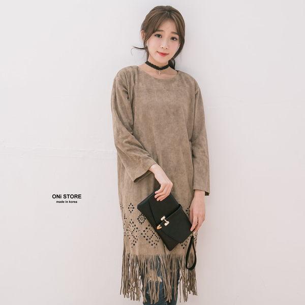 Korea手工質感鹿皮短絨雕花流蘇造型長版上衣 - ONi STORE - 424205