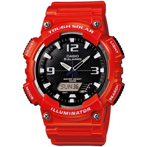 CASIO 型男個性太陽能雙顯錶-亮紅錶帶(AQ-S810WC-4A)【屈臣氏】