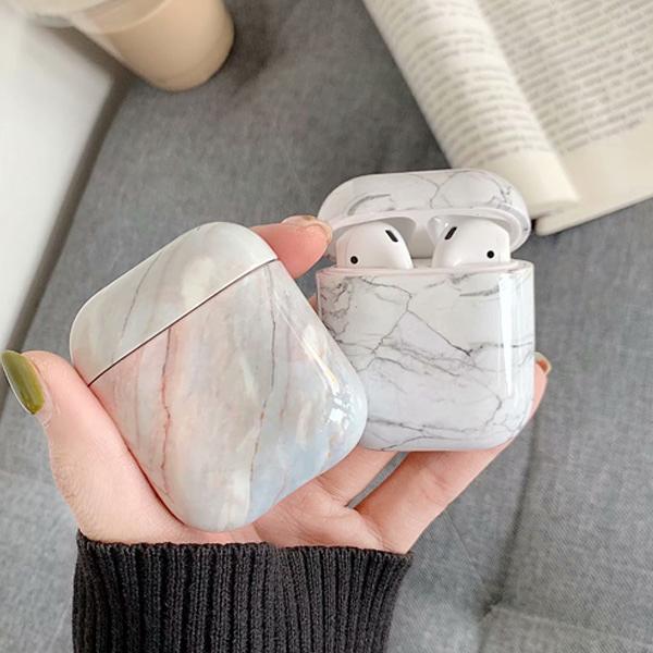 蘋果 大理石纹 AirPods 保護套 AirPods一代配件 AirPods二代配件 裝置配件 耳機收納 小物收納