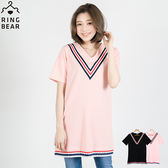 長版上衣--大V領拼接下擺百褶紅白藍彩條顯瘦長版上衣(黑.粉XL-5L)-D273眼圈熊中大尺碼