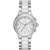 DKNY 精緻雅典娜三眼時尚腕錶-銀x雙材質錶帶