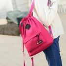 簡易束口袋輕便運動抽帶包健身包大容量收納袋折疊旅游背包 韓國時尚週