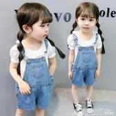 寶寶夏裝女童薄牛仔吊帶褲夏季連身褲子可開襠嬰幼兒童男小童短褲 格蘭小舖