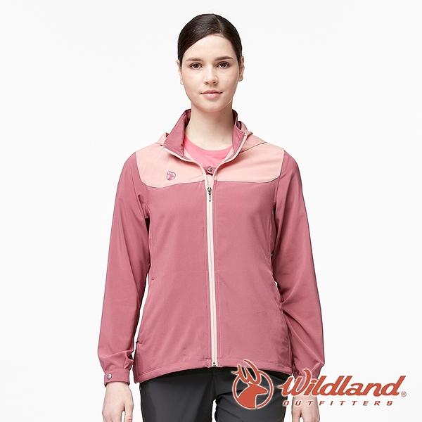 【wildland 荒野】女 彈性拼接透氣抗UV外套『梅洛色』0A91907 戶外 休閒 運動 吸濕 排汗 快乾