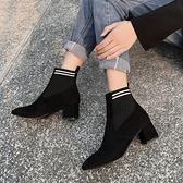 靴子女秋冬季2019新款英倫風中跟網紅瘦瘦靴中筒粗跟短靴小跟單靴歐韓時代