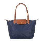 Longchamp Le Pliage 經典尼龍中型摺疊長柄水餃包(海軍藍)