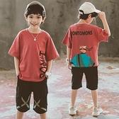 男童夏裝套裝2021新款男孩夏季帥氣衣服兒童短袖t恤中大童兩件套 幸福第一站