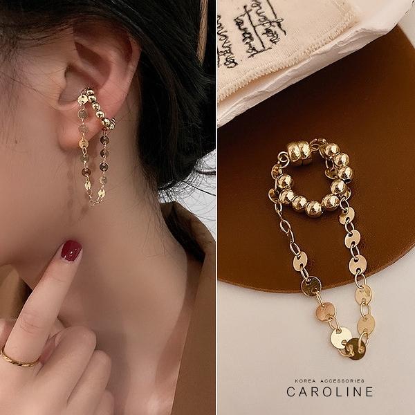 《Caroline》法式古典純金色珠鍊垂墜感磁吸式高級訂製款無耳洞耳夾無痛耳骨夾(單只)72686