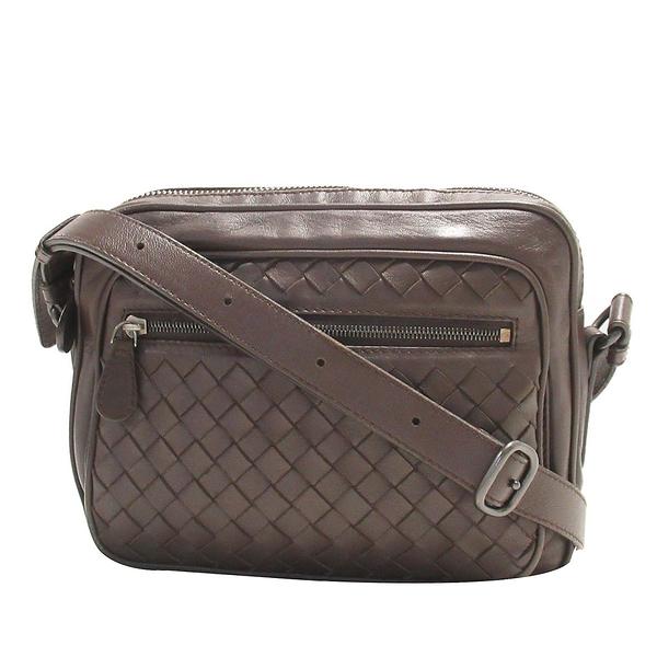 BOTTEGA VENETA 寶緹嘉 咖啡色編織羊皮斜背包 Intrecciato Shoulder Bag【BRAND OFF】
