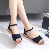 涼鞋涼鞋女夏季新款森女系鞋子平底學生魚嘴粗跟韓版百搭中跟女鞋 可然精品