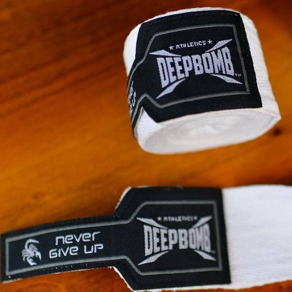 『VENUM旗艦館』DEEPBOMB 原裝進口BOXING 專業拳擊手綁帶~2.5米  純棉 手綁帶 無彈性 白色