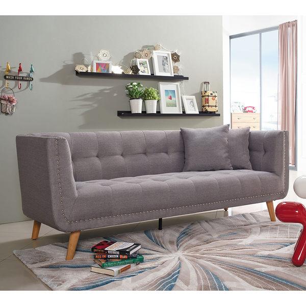 【森可家居】戴克三人銅釘沙發 7JX148-1 附兩個抱枕 布沙發 美式休閒 北歐風