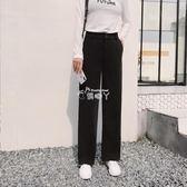 黑色闊腿褲女高腰直筒拖地褲女西裝休閒長褲寬鬆垂墜 俏腳丫