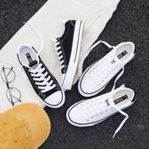 經典黑色帆布鞋女2019新款學生韓版布鞋百搭板鞋小黑鞋子