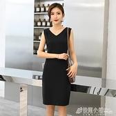 春夏季新款韓版無袖連身裙黑色V領修身顯瘦內搭打底背心裙女 秋冬新品