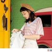 《AB12477》親膚質感大V領配色橫條紋T恤上衣--適 XL~6L OrangeBear