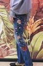 FINDSENSE 品牌 男士牛仔褲 新款水洗復古微喇側縫繡花牛仔褲