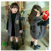 兒童外套 兒童馬甲加厚長款男女童韓版新款冬裝毛絨保暖帶帽寶寶背心厚