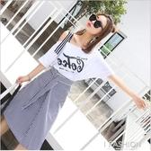 2018春季新款時髦套裝裙子女韓版氣質學生露肩短袖小清新連衣裙夏·Ifashion