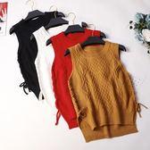 毛衣針織背心馬甲女韓版學生寬鬆圓領套頭無袖毛線坎肩馬甲外套潮   時尚潮流