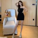 【Charm Beauty】夏季2021新款 性感吊帶 連衣裙女 辣妹風 心機 小眾黑裙子 短款包臀