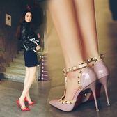 高跟鞋女細跟 尖頭一字扣公主性感百搭鉚釘 少女單鞋夏季新款
