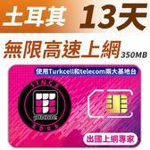 【TPHONE上網專家】土耳其13天無限上網 每天前面350MB支援4G高速