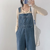 大碼牛仔吊帶褲女韓版寬松時尚可愛日系百搭直筒【大碼百分百】