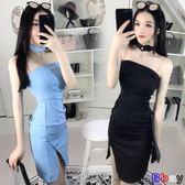 [貝貝居] 性感夜店圍脖裝飾抹胸修身開叉包臀禮服春夏時尚連身裙女