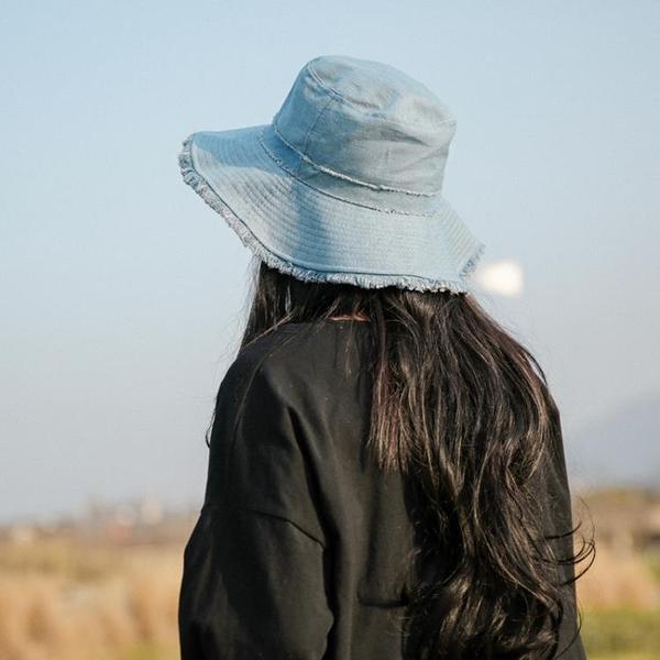 牛仔帽帽子女夏天牛仔漁夫帽休閑百搭韓版純色日系大檐防曬遮陽磨邊盆帽快速出貨