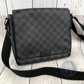 BRAND楓月 LOUIS VUITTON LV N41260 黑色 經典 棋盤 DISTRICT PM 肩背包 側背包