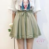 韓國夏裝新款素面百褶雪紡裙褲女學生寬鬆大尺碼闊腿短褲潮 四色可選 【快速出貨】