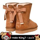 HELLO KITTY X Ann'S棕色熊熊單色刺繡後織帶蝴蝶結中筒真皮雪靴-棕