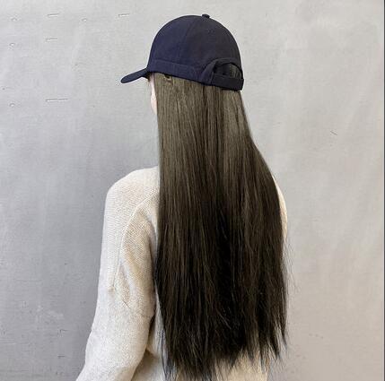 假髮 假發帽子一體女春天款長發網紅自然時尚直發帶頭發帽長直發【快速出貨八折鉅惠】