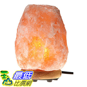 [106美國直購] WBM Himalayan Glow 1002 Hand Carved Natural Salt Lamp with Genuine Neem Wood Base/Bulb and Dimmer Control